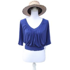 Forever 21 Blue Deep-V Flowy Blouse Size Small Top